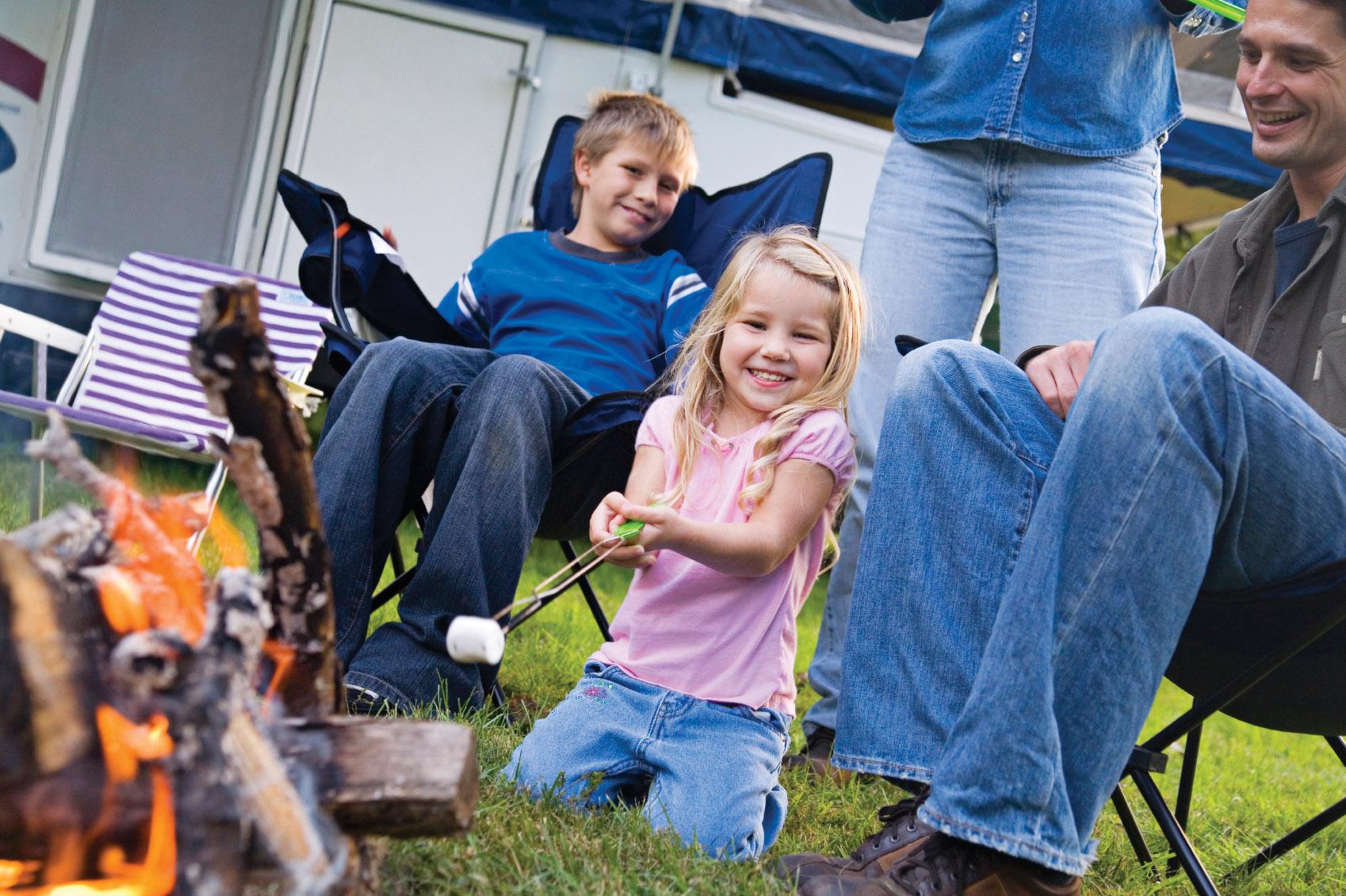 Toasting Marshmallows At The Lantern Resort Campground & Motel - Jefferson, NH
